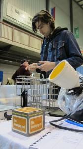 Bennett preparing table -yellow safe light