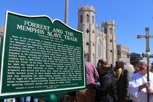 Bishop with new historic sign, Memphis