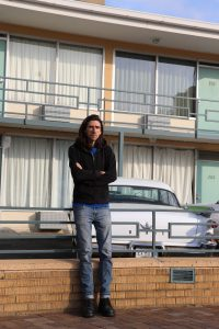 Bennett Jones Phillips in front of the Lorraine Motel